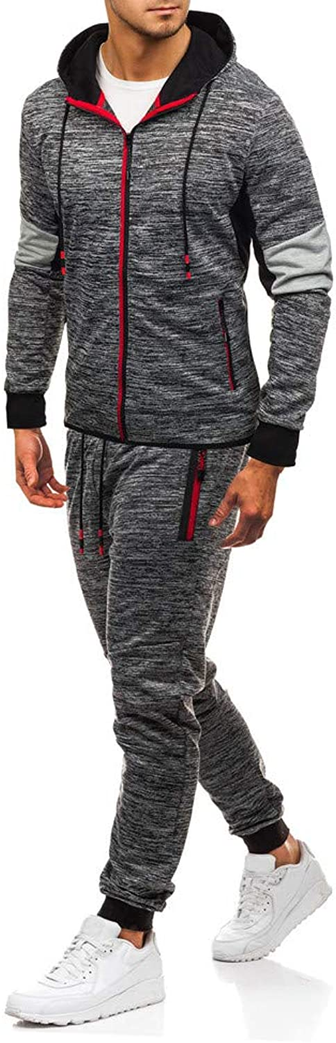 20182019 Men's Gym Contrast Jogging Full Tracksuit Hoodies Fleece Joggers Set
