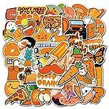 50 Unids/Set Calientes Calientes Naranja Pizza de Frutas para El Teléfono Portátil Monopatín Maleta Chica Impermeable Decal Sticker