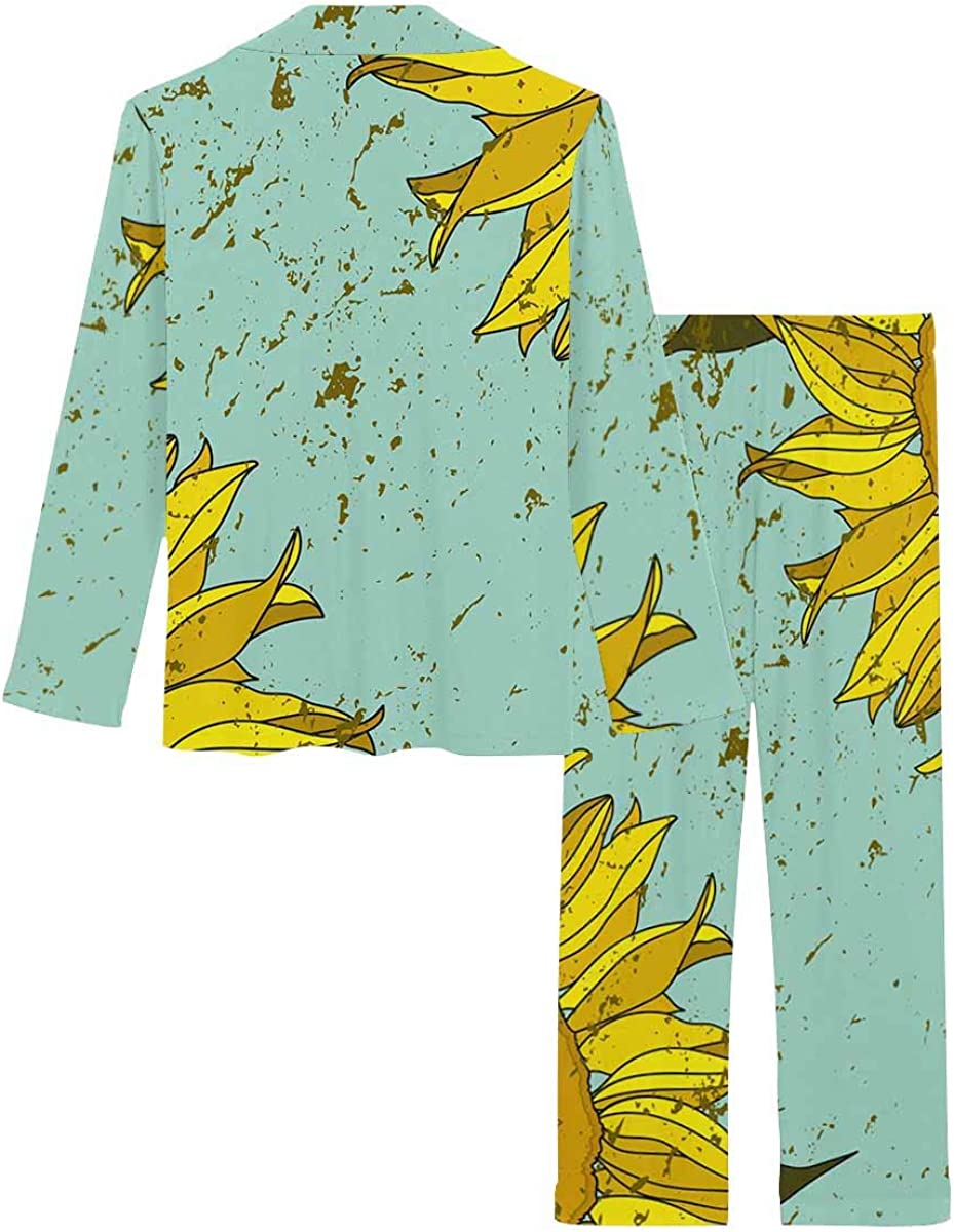 InterestPrint Soft Nightwear Loungewear with Long Pants Pajamas Set Sunflowers Corner