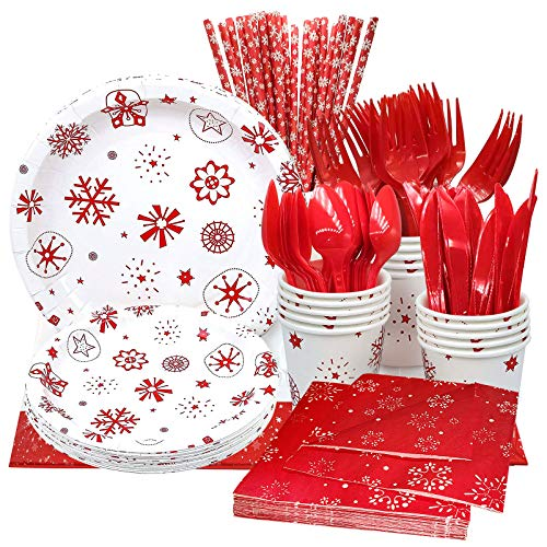 Christmas Party Plates 142 Pcs Christmas Disposable Dinnerware Set Supplies, Christmas Paper Plates Includes 9' and 7' Holiday Plates and Napkins, 9 oz Party Cups, Cutlery Tablecloth for Christmas Tableware Set Serve 16 Guest