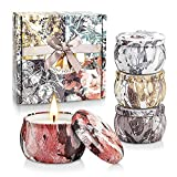 Scented Candles Gift Set for Women, Decorative Aromatherapy Soy Candle for Birthday, Dinner Decoration, Yoga, Holiday, Wedding Party with Fabulous Tins and Adorable Packaging(4 Pack)
