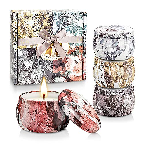 4 Pack Scented Candles Gift Set for Women, Home Scented Soy Wax Aromatherapy Candles for Meditation, Bath, Yoga, Stress Relief. an Ideal Woman Gift for Birthday, Anniversary, Perfect Gift for Her
