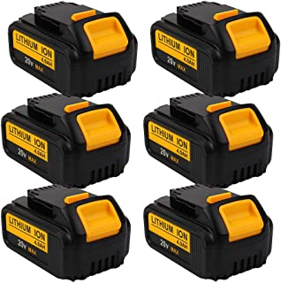6-Pack 4000mAh 20V DCB204 Battery Replacement for Dewalt 20-Volt MAX XR Lithium Ion Batteries DCB205 DCB200 DCB203 DCB206 DCB205-2 DCB180 DCD985B DCD771 DCB201 Cordless Power Tools