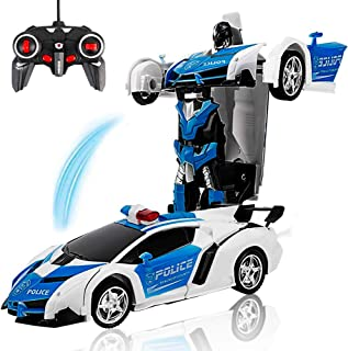 Remote Control Transforming Police Car Toy for Kids Boys Girls Gifts - 1:18 Scale RC Transforming Car Robot with One Button Transformation & Realistic Engine Sounds &360 Speed Drifting