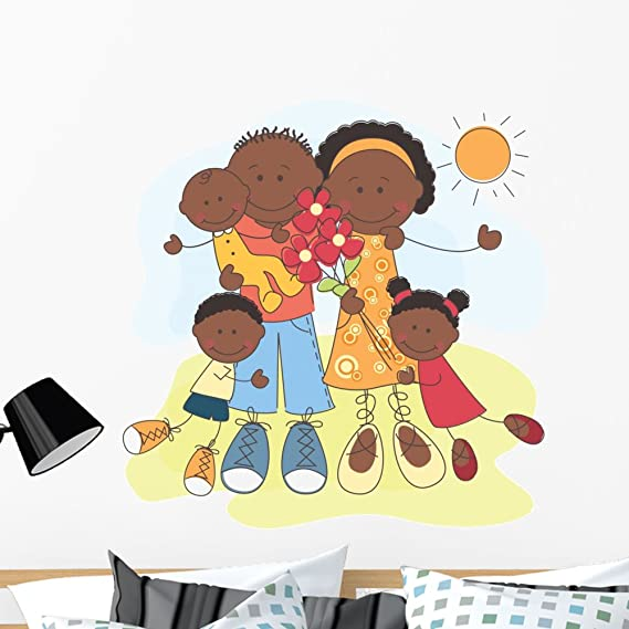Wallmonkeys Wm245172 Happy African American Family Peel And Stick Wall Decals H X 36 In W 36 36 W Large Home Kitchen
