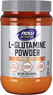 NOW Sports Nutrition, L-Glutamine Pure Powder, Nitrogen Transporter*, Amino Acid, 1-Pound