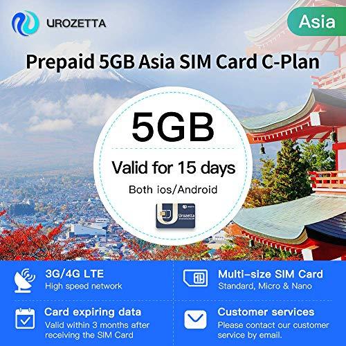 Urozetta 4G SIM-Karte 5 GB Datenabdeckung Asien Gültig für 15 Tage Netzabdeckung in Thailand Korea Indien Vietnam usw. 11 Regionen und Länder