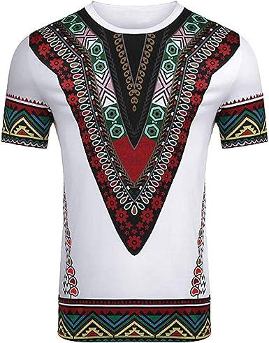 HucodeVan Camiseta de Manga Corta Hombre Estilo étnico Moda ...