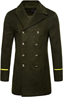 AOWOFS Men's Mid Long Wool Woolen Coat Winter Double Breasted Military Overcoat Warm Trench Coat
