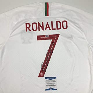 Autographed/Signed Cristiano Ronaldo Portugal White World Cup Soccer Futbol Jersey Beckett BAS COA