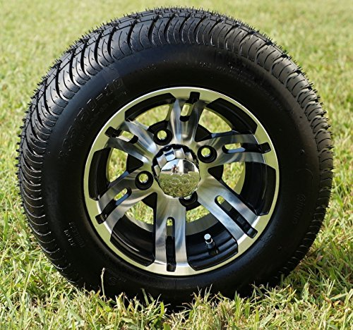 10' BULLDOG Machined Golf Cart Wheels and 205/50-10 DOT Golf Cart Tires Combo - Set of 4
