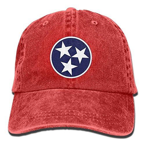 Wdskbg Tri-Flag-Weinlese-justierbarer Denim-Hut Tennessees Baseballmütze Foradult Design8