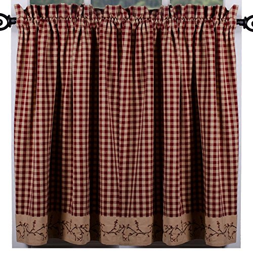 "Primitive Home Decors Berry Vine Check Barn Red and Nutmeg 72"" x 36"" Lined Cotton Curtain Tiers"