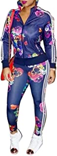 Women's Hawaii Floral 2 Piece Set Tracksuit Sports Joggers Jacket Suit