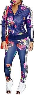 Women's Hawaii Floral 2 Piece Set Tracksuit Sports Joggers Jacket Suit