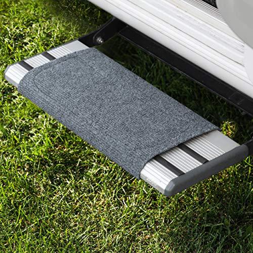 FAIRMO Wohnmobil Trittstufen Fußmatte - Premium Teppich für Wohnmobil - Wohnmobil Zubehör individuell passend - Clean Step Fußmatte Wohnwagen - Camping Trittstufen Matte Wohnmobil in grau