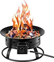 Giantex Firebowl Outdoor Portable Propane Gas Fire Pit, 19-Inch Diameter, 58,000BTU w/Cover & Carry Kit, Lava Rock Stone and Tank Stabilizer Ring, Black