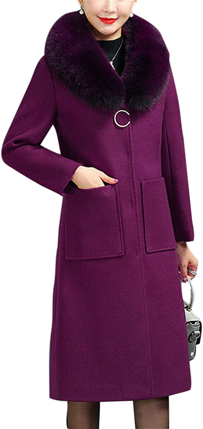 Uaneo Womens Slim Fit Faux Fur Collar Button Up Wool Blended Mid Long Coat Jackets(Purple-M)