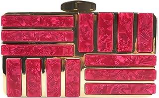 Wultia - Handbag 2019 Women Elegant Solid Color Acrylic Decoration Clutches Evening Chain Crossbody Bags Party Handbag malas *0.92 hot Pink