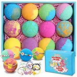 Bath Bombs for Kids with Toys inside for Girls Boys - 12 Set XXL Large Size Gift Kit, Surprise UNICORN, Bulk Handmade Bubble Bath Fizzies Spa Fizz Balls (Toys May Vary)