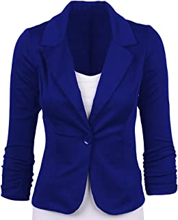 Womens Slim One Button Lapel Work Office Blazer Jacket Coat Navy XL