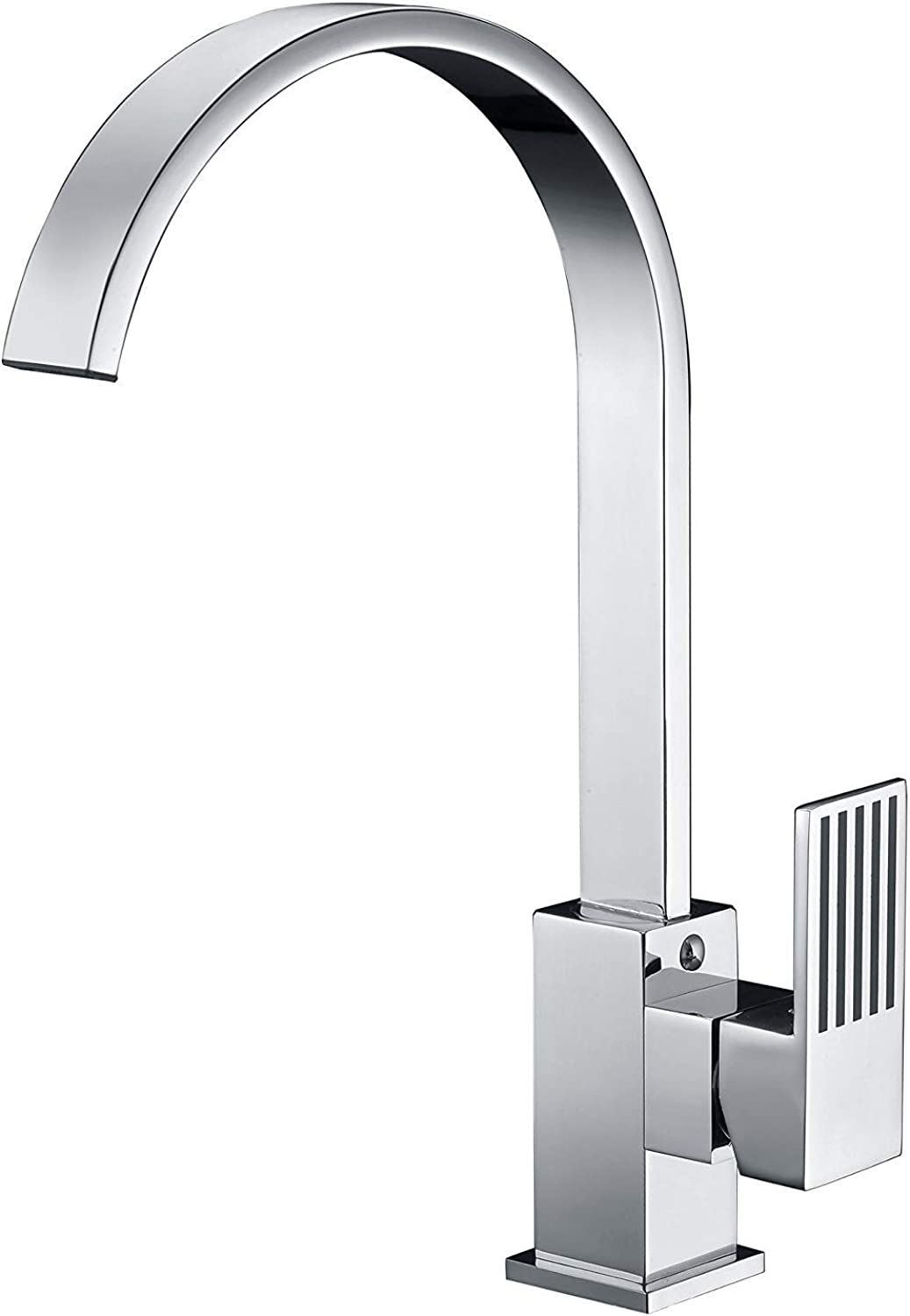 YBHNB Kitchen Sink Tap, Chrome-plated Copper Kitchen Hot and Cold Water Taps Wide Mouth Waterfall Basin Taps Single Hole Sink Tap