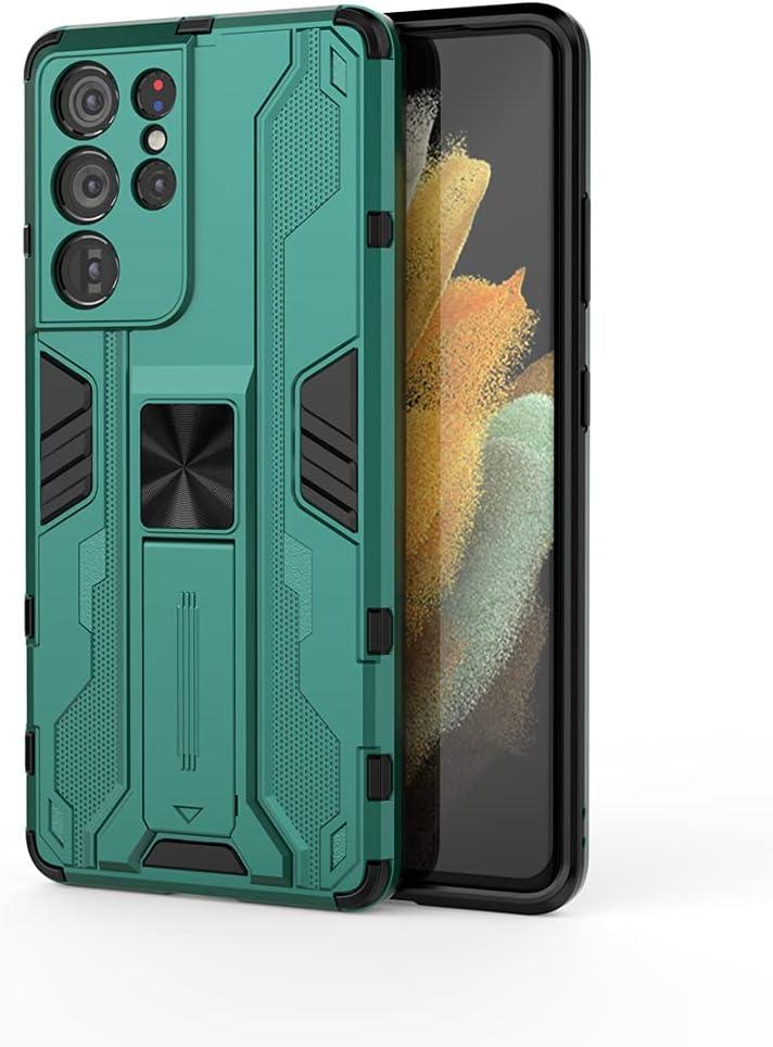 جراب Samsung Galaxy F12، جراب واقٍ متين ومتين ومقاوم للصدمات مع مسند للرأس، جراب واقٍ مضاد للصدمات لهاتف Samsung Galaxy F12-green