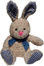 Bunny Rabbit Stuffed Animal Plush, Soft Fabric, 15 Inch Tall Cream Easter Rabbit, with Cute Bunny Bow and Checkered Accents, Toy Plush for Bunny Baby Shower, Easter Bunny, Gift for Boy or Girl (Blue)