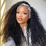 Headband Wig, Human Hair Wigs for Black Women Curly Headband Wig Glueless Kinky Curly Headband Human Hair Wig YYONG Brizilian Virgin Hair Wigs Natural 16 Inch