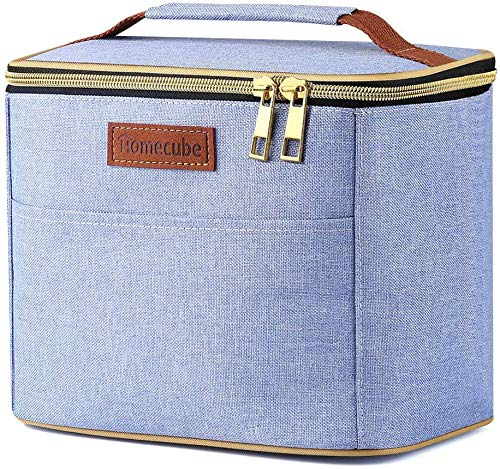 TTVALLEY Reusable Lunch Bag - Insulated Lunch Tote Handbag (Light Blue)