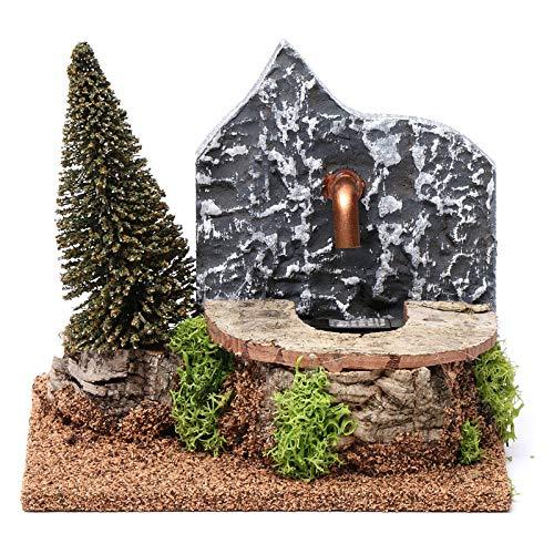 Holyart Fuente el?ctrica de Corcho con Pino 15x20x15 cm para belenes 9-10 cm