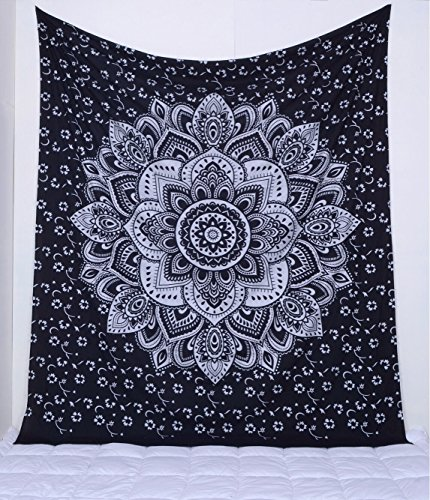 Popular Handicrafts Kp767 The Passion Silver Ombre Tapestry Wall hanging Indian Mandala Wall Art, Hippie Wall Hanging, Bohemian tapestries King Size Silver on Black