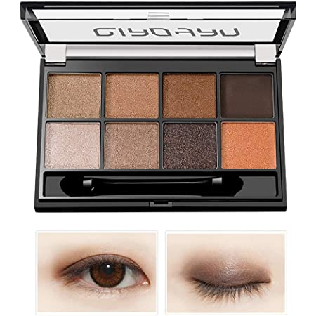 Eyeshadow Makeup Palette - with Mirror, Shimmer Matte High Pigmented Eyeshadow Pallet Nude Professional Makeup Warm Natural Long Lasting Waterproof Eye Shadow with Brush (8 Colors Earth Tone)