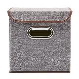 EZOWare 4-Pack Aufbewahrungsbox, 4-Pack Aufbewahrungsbox inkl. Deckel, Cube Aufbewahrungskorb Ordnungsystem Sauraum Boxen Körbe Kisten (Grau) – 25×25 cm - 7