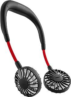 ハンズフリー ポータブル扇風機 首かけ 卓上扇風機 JOYSTECH 携帯扇風機 大容量 2000mah PSE認証 USB扇風機 風量3段階調節 角度調整 小型 ファン 持ち運びに便利 静音 省エネ 充電式 (黒い)