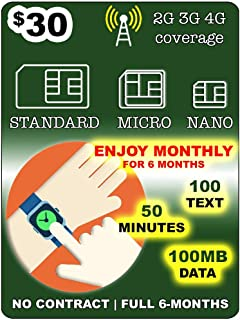 SpeedTalk Mobile 6 MONTHS SmartWatch SIM Card for 2G 3G 4G LTE GSM Smart Watch and Wearables-Roaming Available