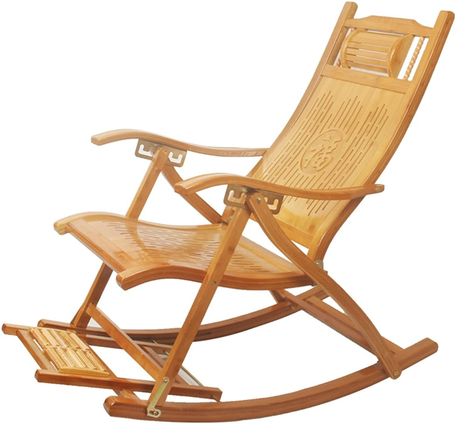 Rocking Chair Adult Balcony Folding Chair Elderly Leisure Chair Office Lunch Lounge Chair Lazy Chair (color   Wood color, Size   95  75  62cm)
