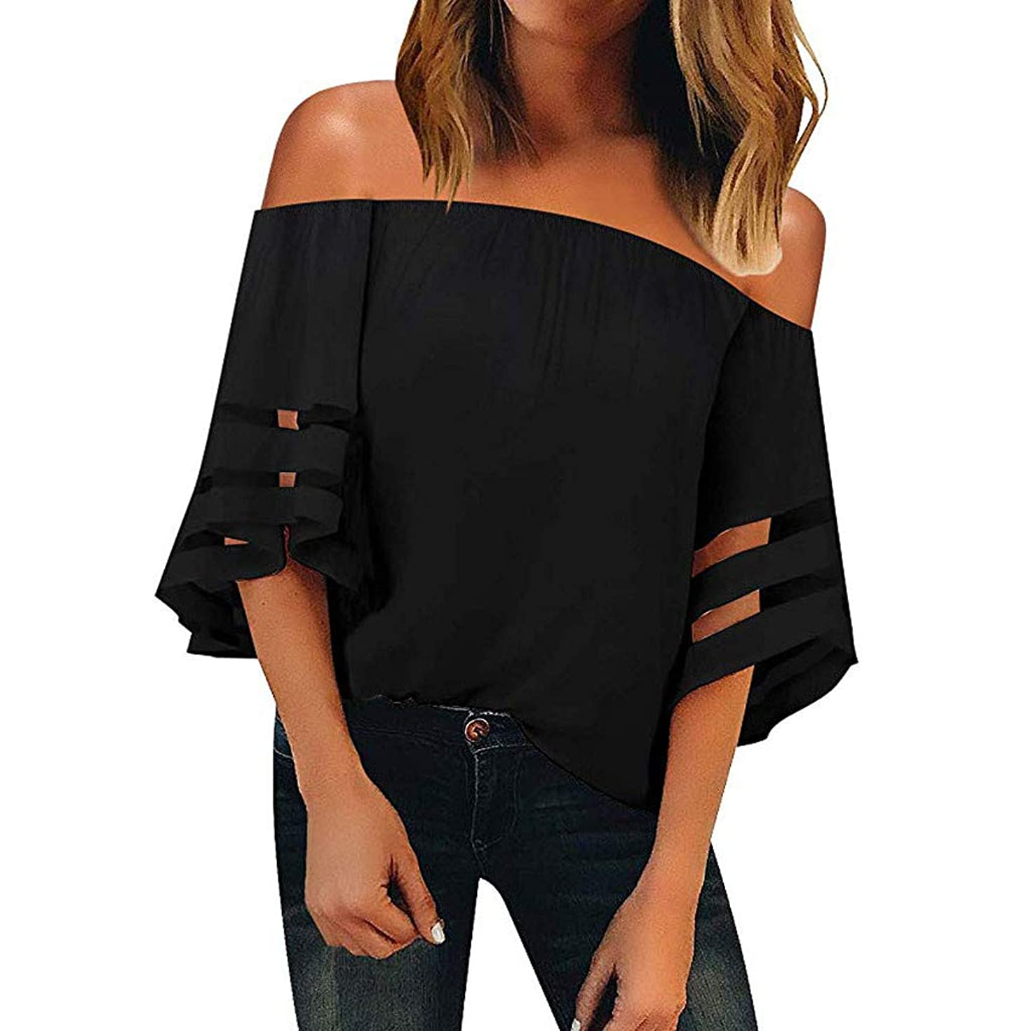 Cewtolkar Women Blouse Off Shoulder Tops Perspective Tees Cropped Sleeve Tunic Chiffon T Shirt Summer Top