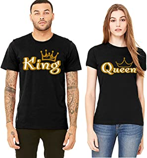 Gold King and Queen His Her T-Shirts Couple Matching Short Sleeve Shirts