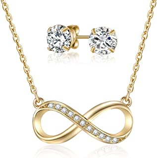 Mestige Gold Infinity Necklace and Earring Set with Swarovski Crystals