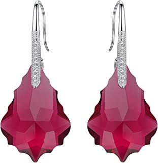 925 Sterling Silver CZ Baroque Hook Drop Earrings Light Colorado Topaz Color Made with Swarovski Crystals