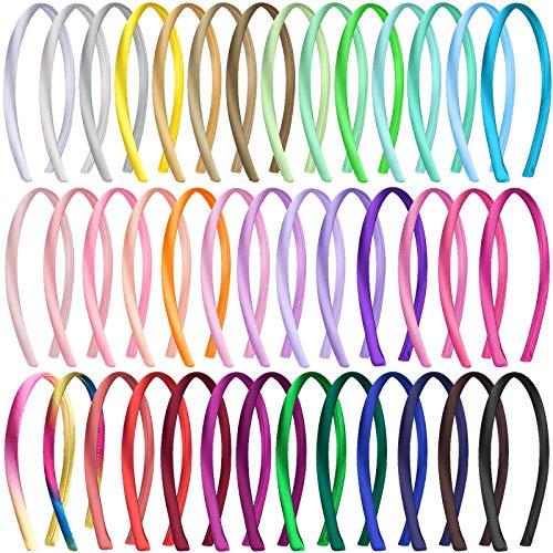 Duufin 40 Piezas Diadema Lisas Turbante 1cm Diademas de Satén 40 Colores Diademas Turbantes para Niña Mujer