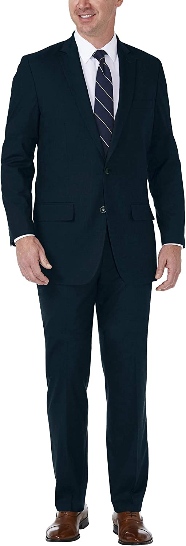 Haggar Men's J.m Premium Stria Tailored Fit Suit Separate Coat, Dark Navy, 48R with Tailored Fit Suit Separate Pant, Dark Navy, 34Wx30L