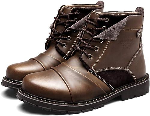 Qiusa Mens Echtes Leder Fell Gefüttert Weißhe Sohle Rutschfeste Durable Comfort Stiefel (Farbe   Braun, Größe   EU 40)