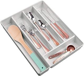 mDesign Range Couvert en Plastique – bac Plastique Pratique pour Les tiroirs de la Cuisine – bac de Rangement antidérapant...