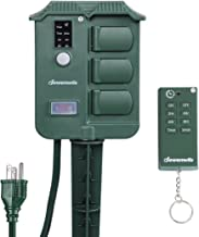 DEWENWILS Outdoor Power Strip Stake Timer with Remote, Waterproof Cover with 6 Grounded Outlets Electric Pool Timer, 6 ft Extension Cord, 100 ft Remote Control, 13A UL Listed