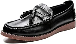 CHENDX Shoes Business Loafers for Men Casual Low Top Shoes Genuine Leather Round Toe Slip on Tassel Decor Anti-Slip Chequered Stitch Selected Material (Color : Black, Size : 39 EU)