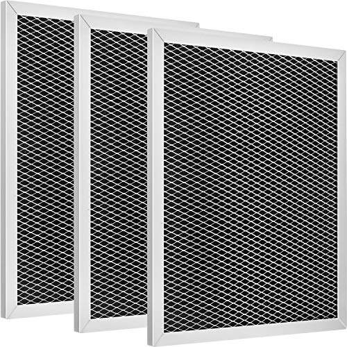 Jovitec 3 Pack Range Hood Filter 97007696 Aluminum Charcoal Combo Compatible with Broan, Kenmore, Maytag, Replace for 1172266, 41F, 5-3082, 51113711, Size 8-3/4 x 10-1/2 x 3/8 Inch