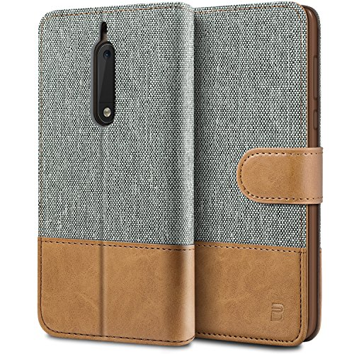 BEZ Hülle für Nokia 5 Hülle, Handyhülle Kompatibel für Nokia 5, Handytasche Schutzhülle Tasche [Stoff & PU Leder] mit Kreditkartenhaltern, Grau