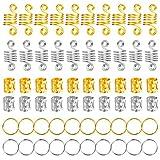 120 Pezzi Alluminio Bobina dei Capelli Dreadlock Anelli di Capelli Treccia Metallo Polsini per Capelli Perline di Capelli per Accessorio per Capelli (Oro e Argento)